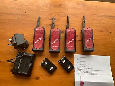 4 X Motorola Handi-Com S200 Walkie Talkie Transceivers , Charger & 2 Spare Batte