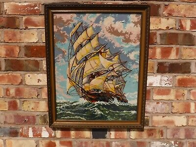 Stunning Large Tapestry Of A Tall Ship At Sea  , Framed + Glazed 74 cm x 60 cm