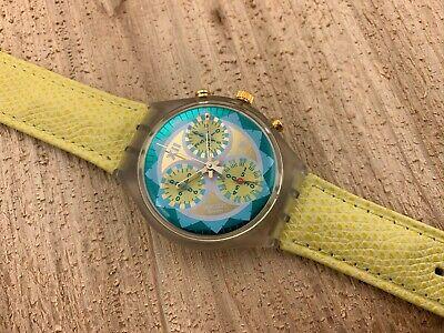 Swatch Originals Chronograph SCK106 Lemon Breeze NOS! Box&Paper&Tag Circa 1994