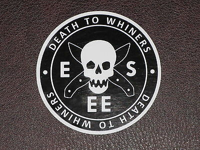 ESEE Knives DEATH TO WHINERS Skull Logo Sticker Decal Survival Knife Training