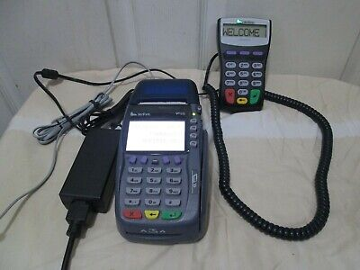 Verifone Omni 5750 Vx570 Credit Card Reader With 1000se Pinpad And Power Supply.