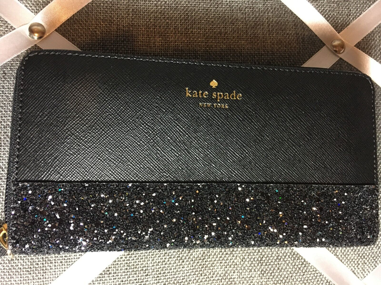 NWT Authentic KATE SPADE neda zip around wallet greta court All That Glitter Blk