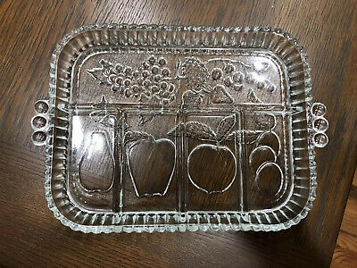 IMPRINTED FRUIT GLASS RECTANGLE SERVING TRAY PLATTER WITH HANDLES Handled Rectangle Platter