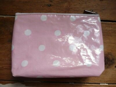 Vintage 50s Oil Cloth Style Pale Pink & White Polka Dot Makeup Cosmetic Case Bag (50's Style Makeup)