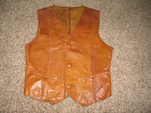 RARE REAL HANDMADE LEATHER VTG OLD WESTERN AMERICANA BACKWOODS COWBOY VEST Sz S