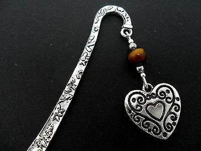 A TIBETAN SILVER ENGRAVED  TIGERS EYE BEAD & HEART CHARM BOOKMARK. NEW. Engraved Heart Bookmark