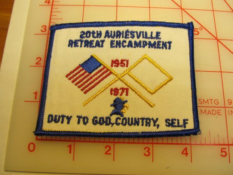 Auriesville Retreat B.S.A. 1971 20th Encampment collectible patch (b20)