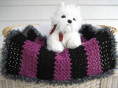 Fancy Dog Cat Bed Blanket Black/Grape Stripe with Sparkle Faux Fur Trim