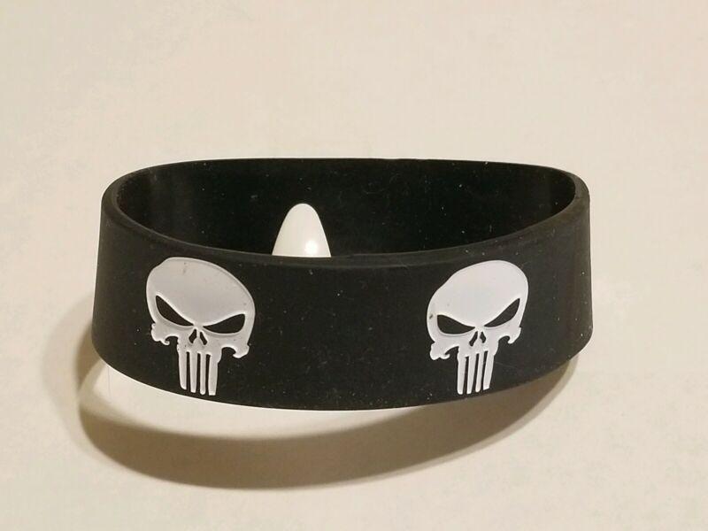 "1x PUNISHER Black/White Silicone Bracelet 1"" Wide - U S Seller"