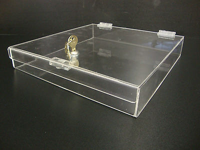 Acrylic Lucite Clear Countertop Display Show Case 12 X 12 X 2 Locking Safe Box