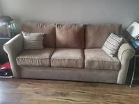 Full Size couch with Queen pull out - color: light brown