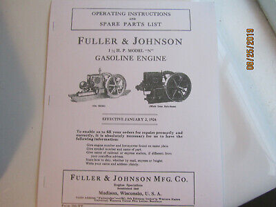 Fuller Johnson Model N Gas Engine Partsoperating Instructions Manual