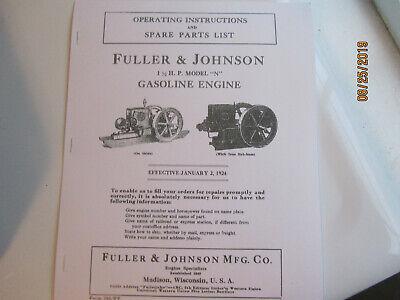 Fuller Johnson Model N Gas Engine Partsoperating Instructions Manual
