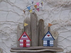 Seaside Driftwood Beach Huts with Rotating Bunting  nautical decor FREE POST