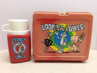Rare Looney Tunes Lunch Box & Thermos Warner Brothers 1977 Bugs, Daffy, & Porky