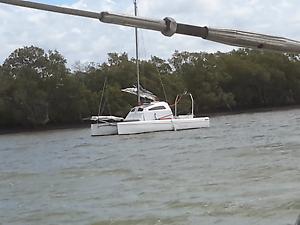 Woods Sango trailer sailer junk rig outboard catamaran Steiglitz Gold Coast North Preview