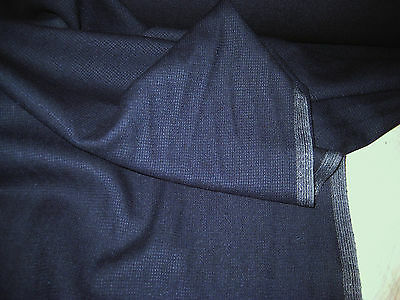 "NAVY BLUE  WOOL BLEND  SUITING FABRIC 58"" WIDE BY THE YARD"