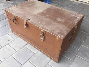 Old wooden timber trunk storage box. Brown Few layers of paint Al Kewdale Belmont Area Preview