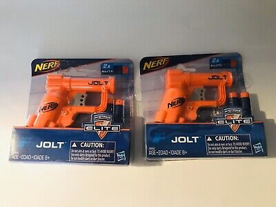 2 Nerf Toy Gun N Strike Elite Jolt Blaster Orange by Hasbro Includes 2 Darts Fun