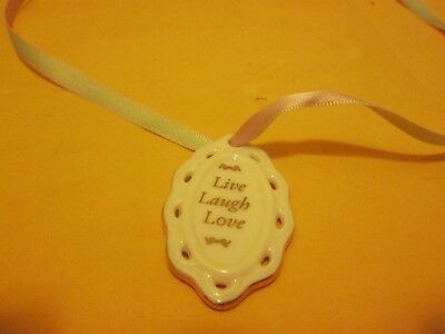 Live Laugh Love China Necklace With Green & Pink Ribbon New No Box Or Tag