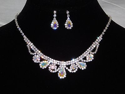 Iridescent Set - Bridal Silver Clear, AB Iridescent Rhinestone Crystal Necklace, Earrings Set