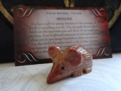 *MOUSE* Carved Stone Figurine Totem Wiccan Pagan Familiar Metaphysical