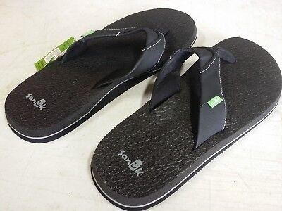 New - Men's Sanuk Black Flip Flops Beer Cozy Casual Sandals - PICK SIZE Beer Flip Flops Sandal