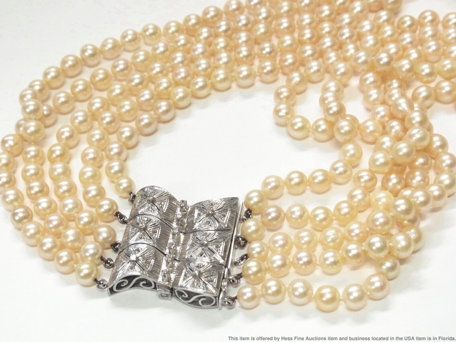 Midcentury 7mm Cultured Akoya Pearl Diamond 14k White Gold Convertible Necklace