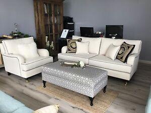 Sofas, lounges, custom made,Ottoman $550, 3 seater with armchair $3900 Auburn Auburn Area Preview