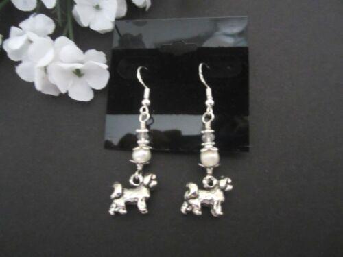 Lhasa Apso / Shih Tzu Dog Earrings with Freshwater Pearls & Swarovski Crystals