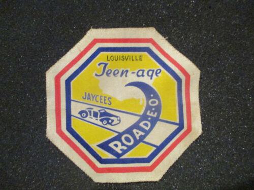 "ORIGINAL VINTAGE 5 3/4"" CANVAS JACKET PATCH TEEN-AGE JAYCEES ROAD-E-O LOUISVILLE"