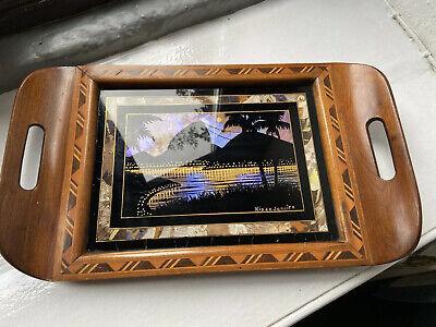 Vintage Retro Decorative Hardwood Marquetry Inlaid Tray Rio De Janeiro Christ Re
