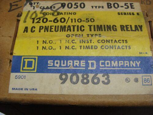 New in Box SQUARE D 9050 Type BO-5E AC Pneumatic Timing Relay 9050BO-5E