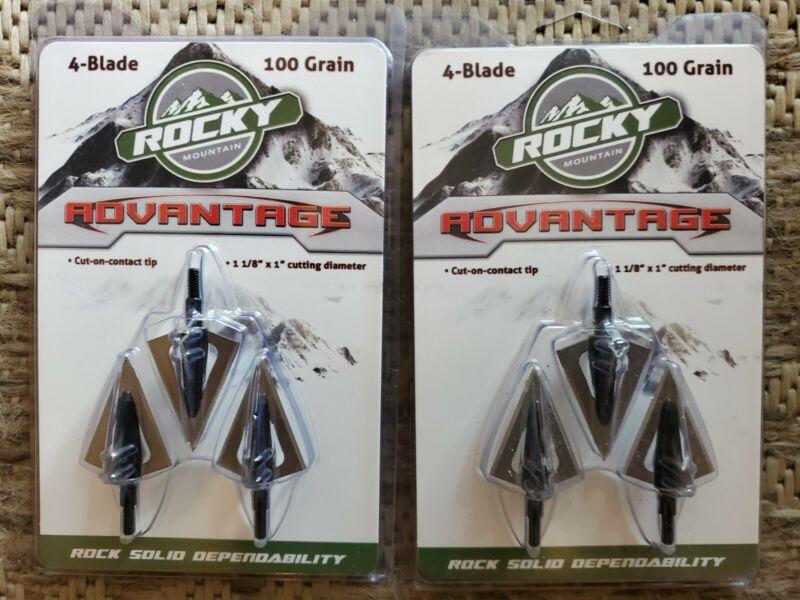 "2 packs Rocky Mountain Advantage 4 blade 100 Grain 1-1/8"" Cut broadheads"