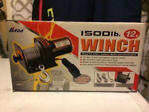 1500lb Winch. 12 volt. Bada brand. New.