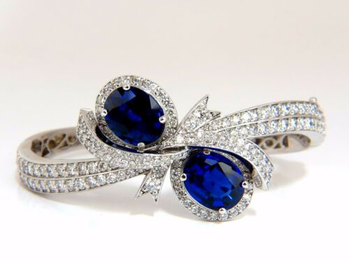 11.50ct Composite Sapphire natural diamonds bangle bracelet 14kt