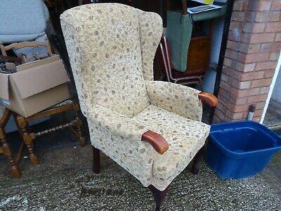 High Back Upholstered Wing Fireside Armchair