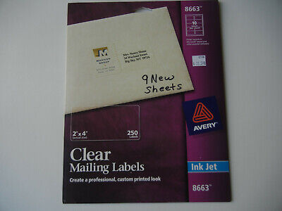 9 Sheets Avery 8663 2 X 4 Clear Address Labels Inkjet 90 Total Labels