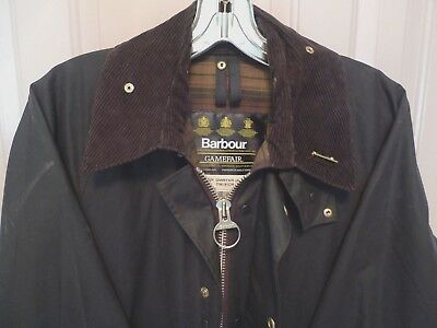 BARBOUR- A125 GAMEFAIR WAX COTTON JACKET- DARK  BROWN - MADE IN ENGLAND- 36