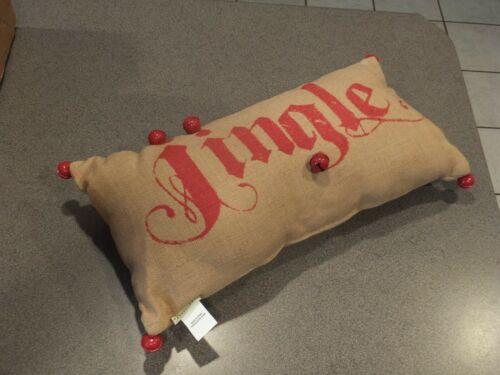 New Pottery Barn Jingle Lumbar Pillow 12x24 with Bells