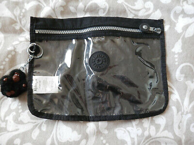 Kipling Black zipped pouch with Daniel monkey