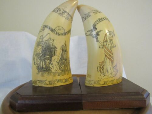 PMS Artek Replica Scrimshaw Whale Tooth Bookends