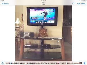 """Samsung 34"""" TV and a 3 glass shelves TV stand like new (Moving)"""