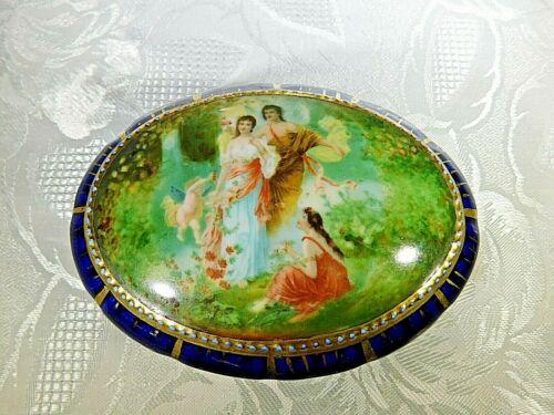 Royal Vienna Porcelain Dresser Box Cupid Persephone Mythological Scene Cobalt Bl