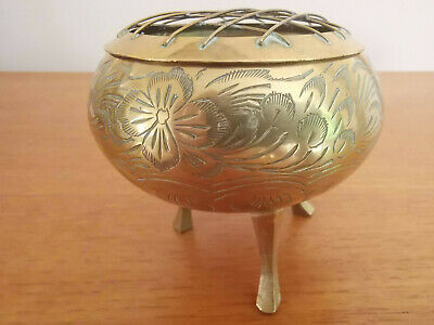 Vintage  Indian Brass Potpourri Etched Rose Dish with Mesh Lid Collectable