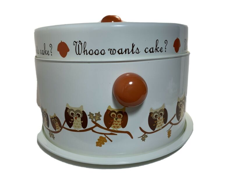 Whooo Wants Cake - Enamelware - double cake & pie stand, carrier or keeper -Owl