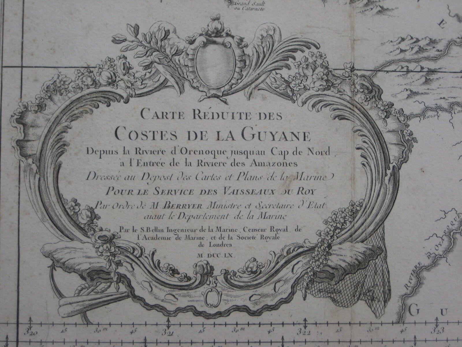Original 1760 Bellin Nautical Map GUIANAS Devil's Island Cayenne Suriname Amazon