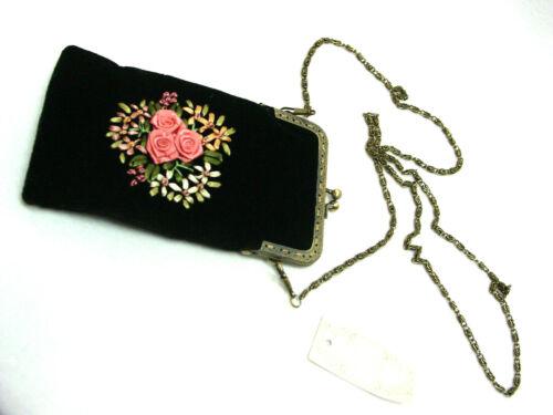 Vintage Victorian style reticule handbag Ribbon Roses BLACK velvet