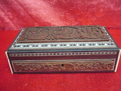 Very Nice, Old Casket __ Wood Carved __ W. India _