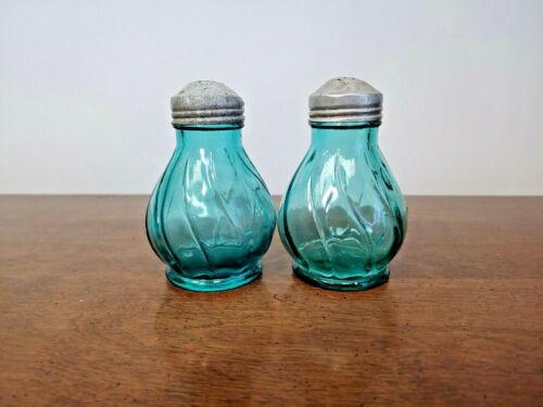 JEANNETTE PETAL SWIRL ULTRAMARINE SALT & PEPPER SHAKER SET - BEAUTIFUL-1937-1938